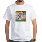Garden / Miniature Schnauzer White T-Shirt