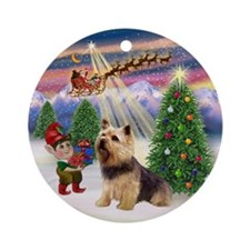 Christmas Tree & Norwich Terrier Ornament (Round)