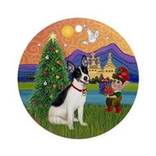 Rat Terrier Christmas Fantasy Ornament (Round)
