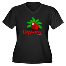 Lingonberry Women's Plus Size V-Neck Dark T-Shirt