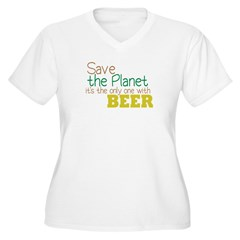 Only Planet with Beer Women's Plus Size V-Neck T-S