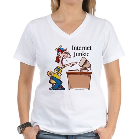 """Internet Junkie"" #2 Women's V-Neck T-Shirt"