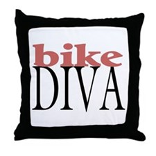 Bike Diva Throw Pillow