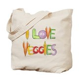 I Love Veggies canvas tote