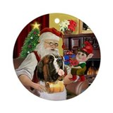 Santa's Saint Bernard Ornament (Round)