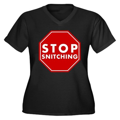 Stop Snitching Womens Plus Size V-Neck Dark T-Shi
