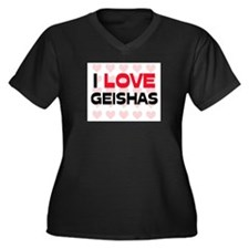 I LOVE GEISHAS Women's Plus Size V-Neck Dark T-Shi
