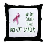 No one breast cancer Throw Pillow