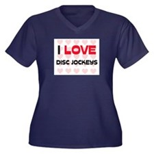 I LOVE DISC JOCKEYS Women's Plus Size V-Neck Dark