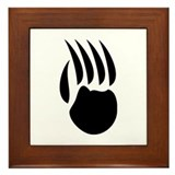 Black Bear Paw Framed Tile