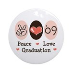 Peace Love 09 Graduation Ornament (Round)