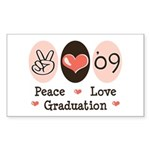Peace Love 09 Graduation Rectangle Sticker 10 pk)