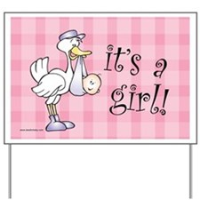 Pink Gingham It's A Girl! Baby Announcement Sign