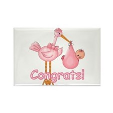 Congrats! Pink Stork Rectangle Magnet