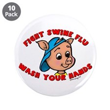 "Swine Flu 3.5"" Button (10 pack)"