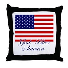 American Flag - God Bless America Throw Pillow