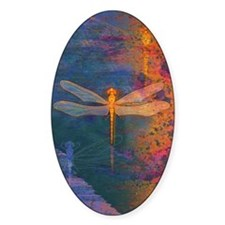 Flaming Dragonfly Oval Decal