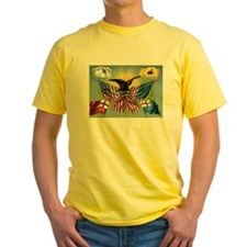 Patriotic Flag T-Shirt (Yellow T) (Front)