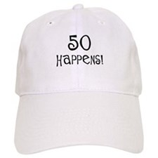 50th birthday gifts 50 happens Baseball Cap