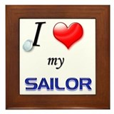 USN I Love my Sailor Framed Tile