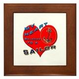 USN My Heart Framed Tile