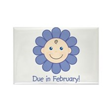 Due in February Baby Boy Rectangle Magnet (100 pac