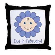 Due in February Baby Boy Throw Pillow