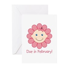 Due in February Baby Girl Greeting Cards (Pk of 10