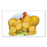 Buff Cochin Rooster and Hen Rectangle Sticker