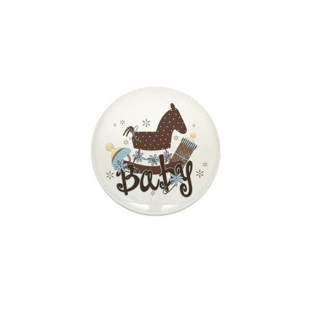 Baby Boy Rocking Horse Mini Button (100 pack)