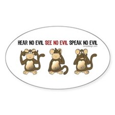 Hear No Evil... Oval Stickers