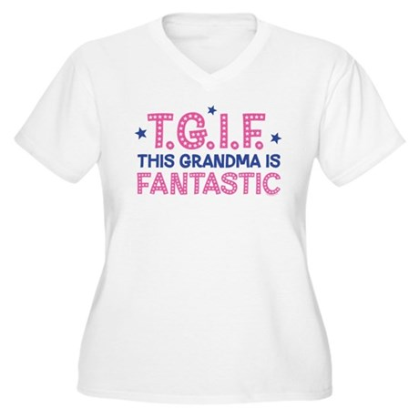 TGIF Fantastic Grandma Women's Plus Size V-Neck T-