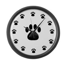 BLACK PAW PRINT Large Wall Clock