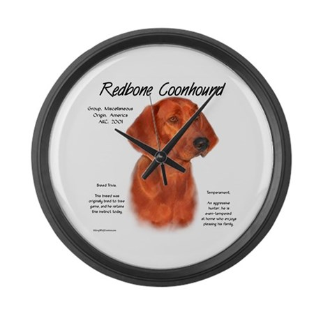 Redbone Coonhound Large Wall Clock