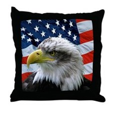 Patriotic American Flag Bald Eagle Throw Pillow