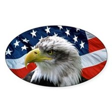 American Flag behind Bald Eagle Oval Decal