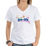 Pro-Life Flowers & Butterfly Women's V-Neck T-Shir