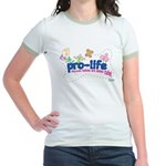 Pro-Life Flowers & Butterfly Jr. Ringer T-Shirt