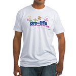 Pro-Life Flowers & Butterfly Fitted T-Shirt