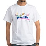Pro-Life Flowers & Butterfly White T-Shirt