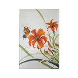 Rectangle Magnet-Daylily and Butterfly