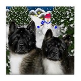 AKITA DOGS Winter Village Tile Coaster