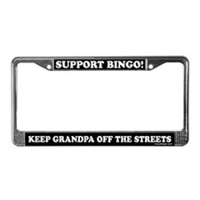 Support Bingo Grandpa License Plate Frame