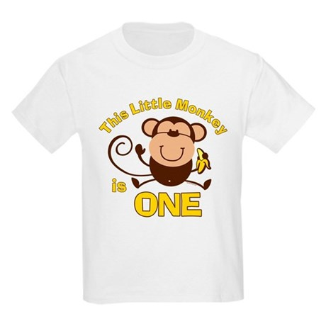 Little Monkey 1st Birthday Boy Kids Light T-Shirt