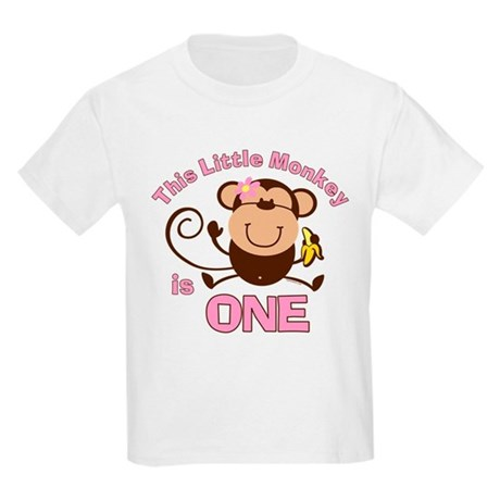 Little Monkey 1st Birthday Girl Kids Light T-Shirt