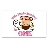 Little Monkey 1st Birthday Girl Decal