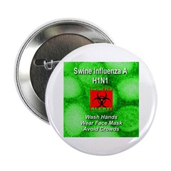 "Swine Flu Virus Alert 2.25"" Button (100 pack)"