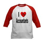 I Love Accountants (Front) Kids Baseball Jersey