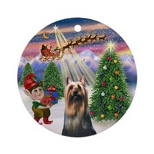 Santa's Take-off & Silky Terrier Ornament (Round)
