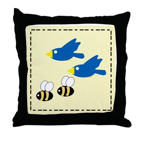 2 Birds, 2 Bees Throw Pillow